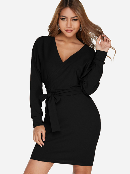 Black Crossed Front Design V-neck Long Sleeves Dress with Belt