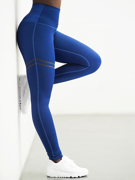 Active Stripe Pattern High Waisted Yoga Leggings in Blue