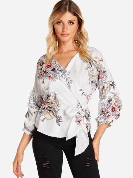 White Self-tie Random Floral Print V-neck Lantern Sleeves Shirt