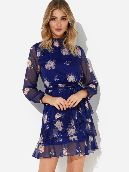 Navy See Through Design Random Floral Print Long Sleeves Mesh Dress