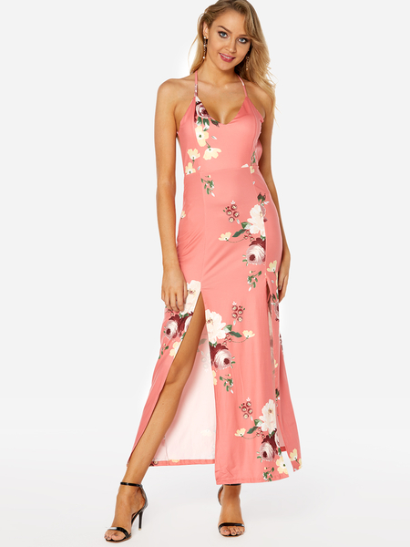 Pink Random Floral Print Deep V Neck Slit Hem Party Dresses