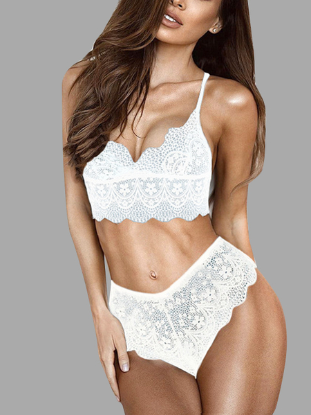 White Lace Hollow See-through Sexy Lingerie Set