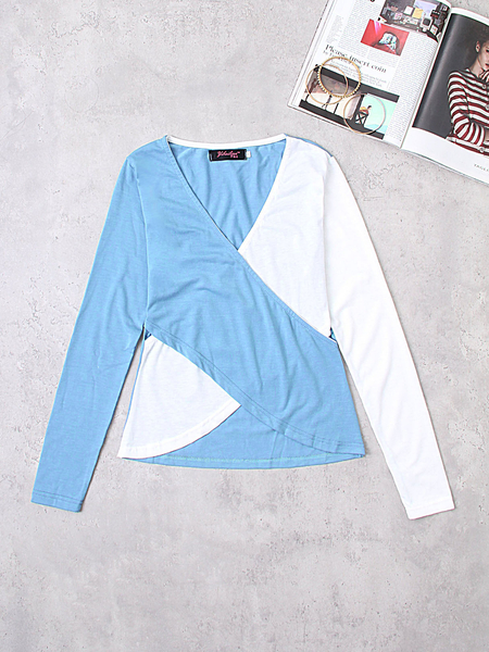 Blue And White Crossed Front Design V-neck Long Sleeves T-shirts