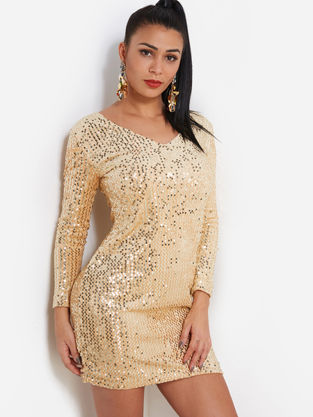 Shiny Gold Sequins Embellished V Neck 3/4 Length Sleeves Dress
