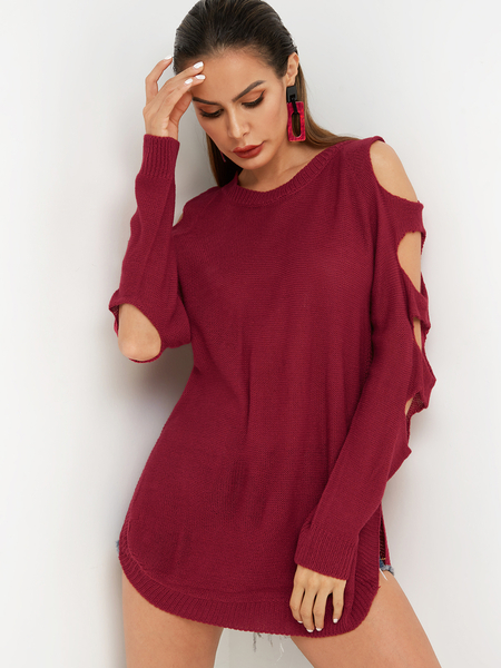 Red Cut Out Plain Crew Neck Long Sleeves Slit Hem Sweaters