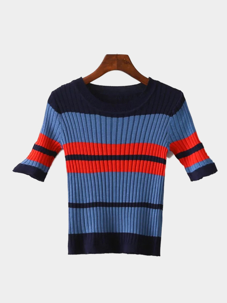 Blue Stripe Pattern Knitted Round Neckline Jumper