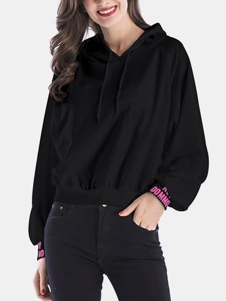 Active  Round Neck Letter Pattern Sports Hoodies in Black
