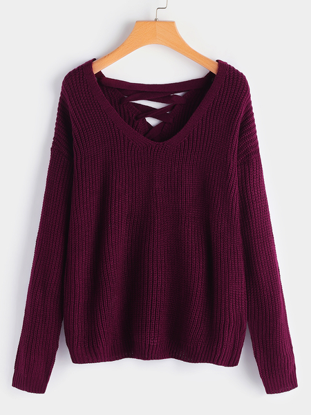 Burgundy Lace-up Design Plain One Shoulder Long Sleeves Sweaters