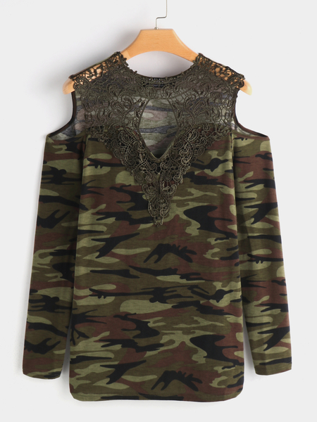 Camo Lace Details Camouflage Cold Shoulder Long Sleeves T-shirts