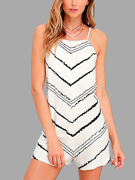 Stripe Pattern Playsuit with Hollow Details