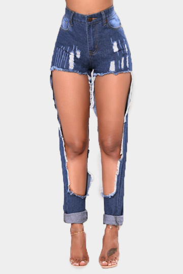 Blue Cut Out Middle-waisted Skiny Jeans