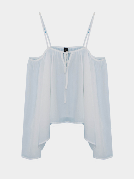 Cold Shoulder Bat Sleeves Chiffon Blouse in White
