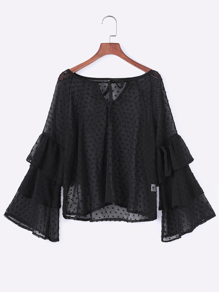 Black Polka Dot Round Cut Out Self-tie DesignNeck Tiered Bell Sleeves Blouses