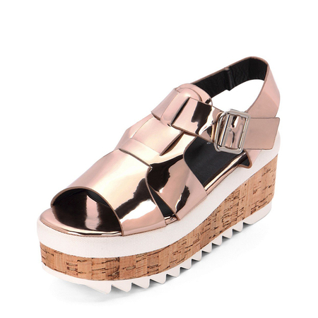 Yoins Gold Metallic Ankle Strap High Platform Sandals