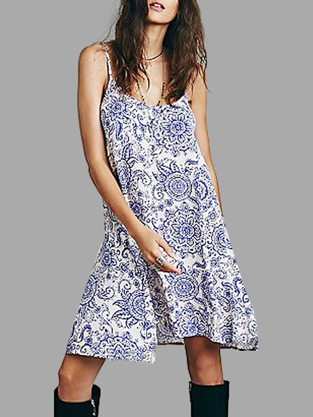 Navy Floral Print Cami Dress