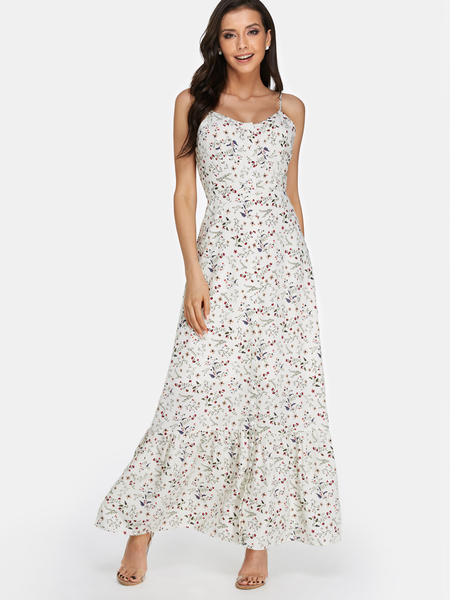 Random Floral Print Button Design Backless Scoop Neck Maxi Dress