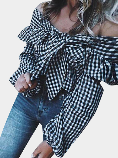 Grid Bow Tie Flounced Off The Shoulder Long Sleeves Blouses