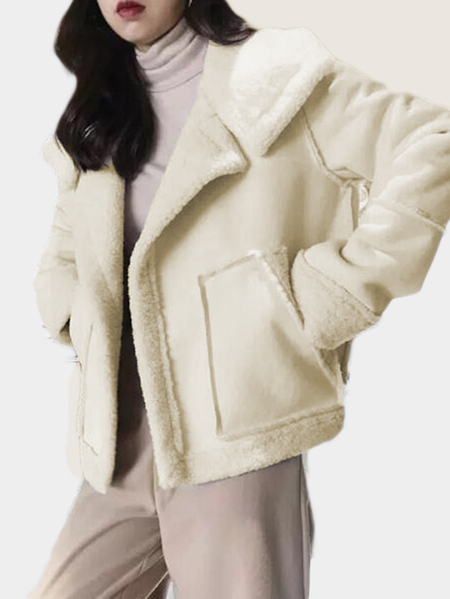 Beige Side Pockets Plain Lapel Collar Long Sleeves Fleece Coat