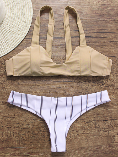 Apricot Scoop Neck Sleeveless Bikini