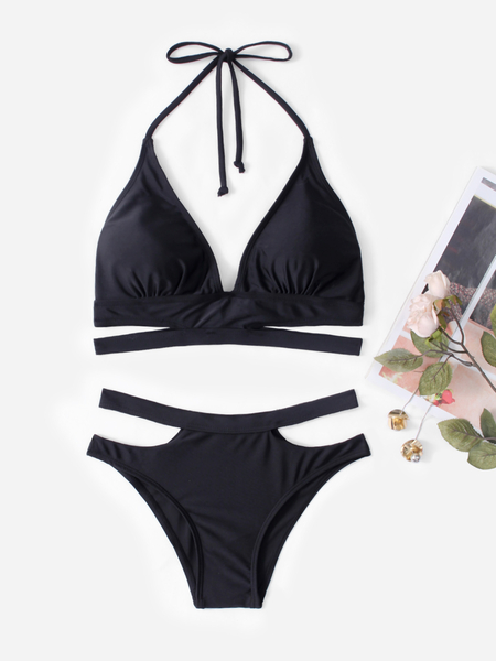Sexy Halter Criss-cross Design Bikini Set in Black