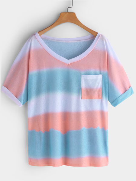 Orange Printed Stripe V-neck Short Sleeves T-shirts