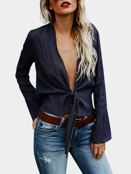 Navy Wave Point Deep V Neck Long Sleeves Blouse