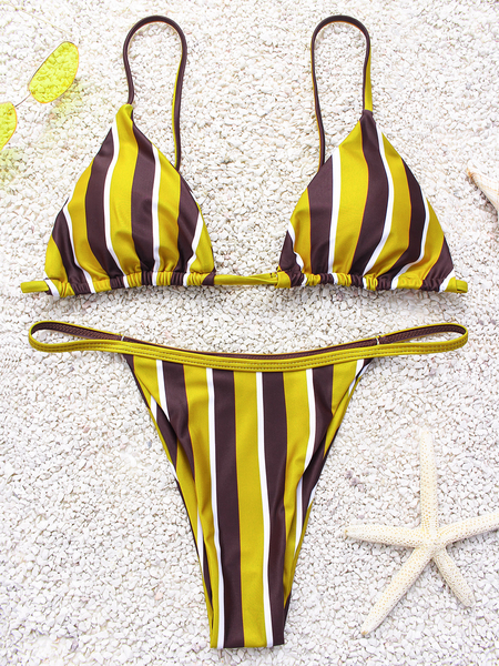 Yellow & Brown Stripe Spaghetti V-neck Sleeveless Bikini