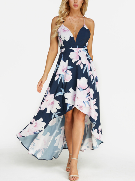 Random Floral Print Backless Design Deep V Neck Sleeveless Maxi Dress