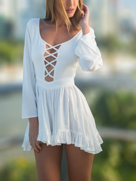 White Crossed Front Design Hollow Deep V-neck Flounced Hem Sexy Jumpsuit