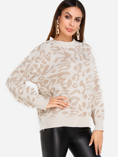 Leopard Print Crew Neck Long Sleeved Knit Pullover Sweater in Beige