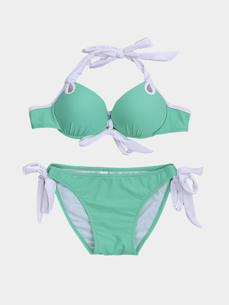 Green Sexy Self-tie Swimwear With Padded Chest