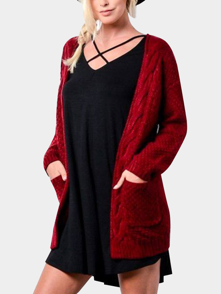 Red Side Pockets Long Sleeves Knitted Cardigan