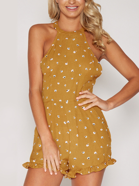 Yellow Halter Wave Point Backless Playsuit