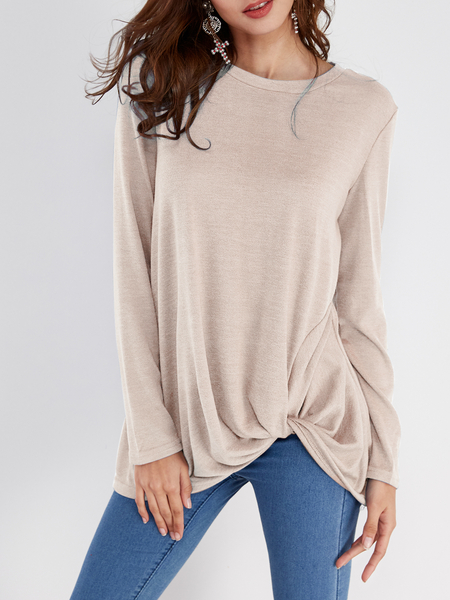 Khaki Pleated Design Round Neck Long Sleeves T-shirts