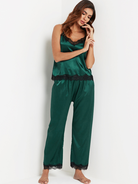Green Lace Trim V-neck Sleeveless Pajama Set