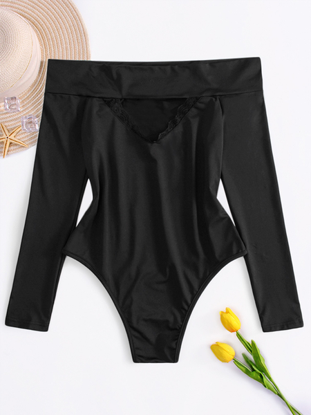 Off Shoulder Black Long Sleeves Bodysuits With Lace & Hollow Details Front