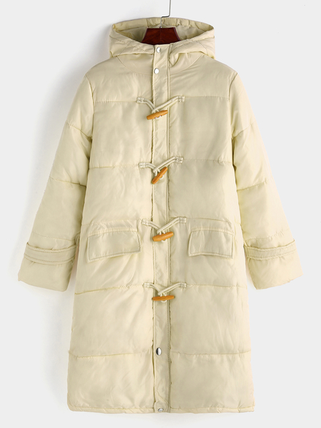 Beige Hooded Design Long Sleeves Cotton-padded Coat