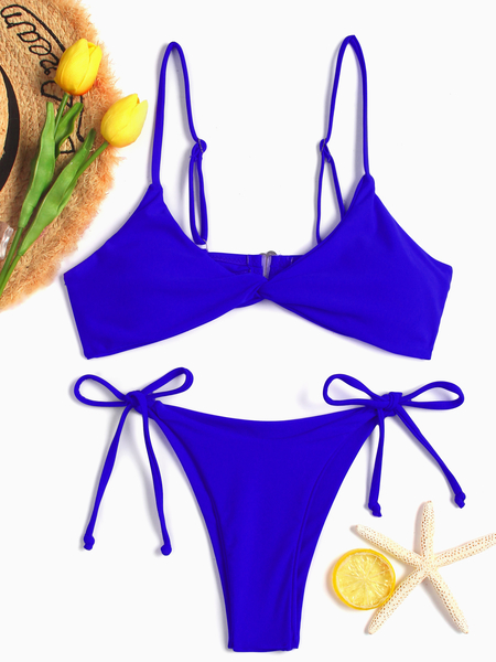 Blue Spaghetti Twisted Front Tie-up Design Bikini Set