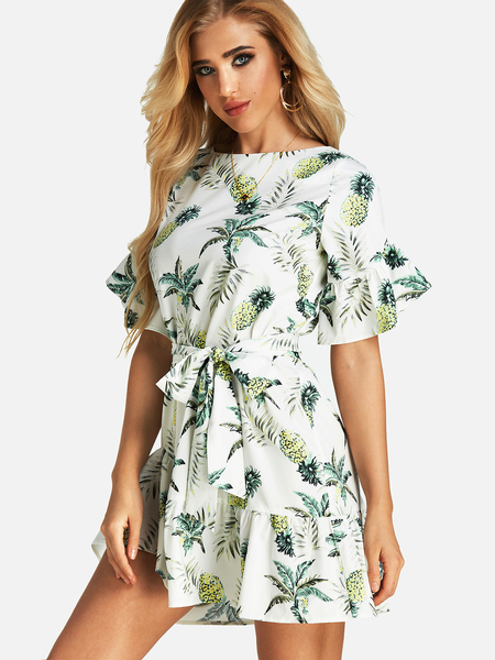 White Random Floral Print Dress With Half Flared Sleeves