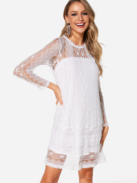 White Lace Long Sleeves Tiered Details Mini Length Dress