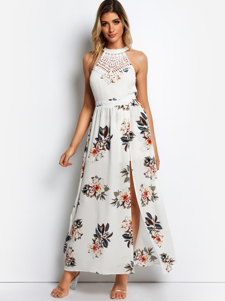 White Slit design Random Floral Print Halter Sleeveless Lace Insert Dress