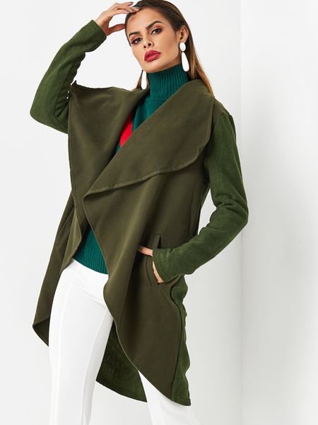 Army Green Lapel Collar Long Sleeves Irregular Hem Coat