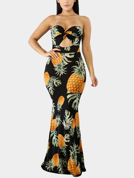 Black Random Floral Print Knotted Front Tube Top Mermaid Dress