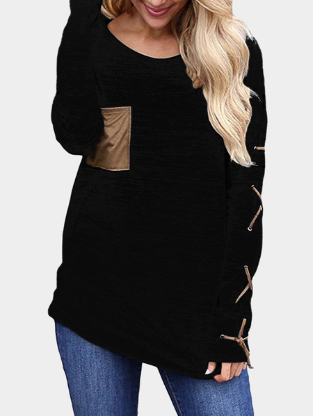 Black Lace-up Design Plain Round Neck Long Sleeves T-shirt