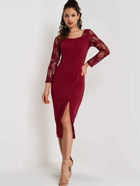 Red Lace Square Neck Lace Insert Dress