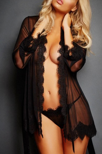 Black Lace Design V-neck Long Sleeves Self-tie Waist Pajamas