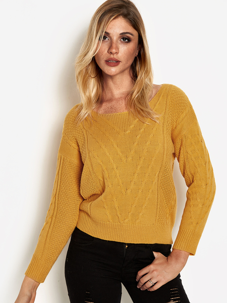 Yellow Plain Round Neck Knot Details Long Sleeves Sweaters