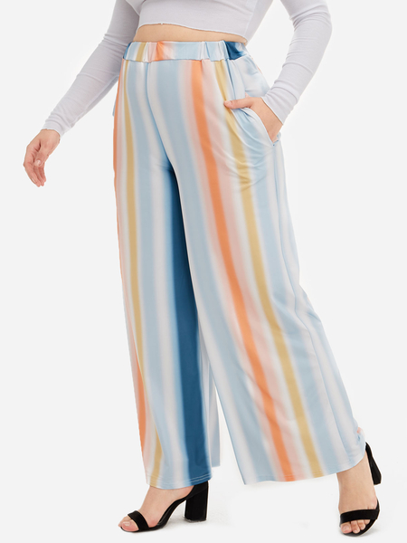Plus Size Multi Pocket Design Stripe Wide Leg Pants