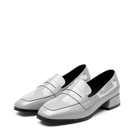 Grey Classic Leather Look Square Toe Slip-on Loafers