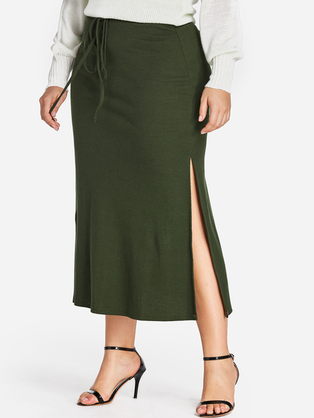 Plus Size Green Bowknot Split Hem Knit Skirt